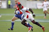 England's Christian Wade scores a try against Fiji in their semi-final at the internationa