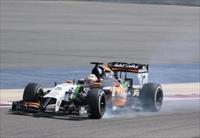 Force India Formula One driver Nico Hulkenberg of Germany test drives his car during the s