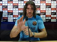 Barcelona's captain Carles Puyol attends a news conference at Joan Gamper training camp, n