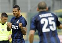 Inter Milan's Fredy Guarin celebrates after scoring a second goal against Parma during the