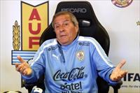 Uruguay's national team head coach Oscar Washington Tabarez gestures during a news confere