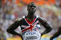 Dwain Chambers of Britain reacts after the men's 100 metres semi-final heat event during t
