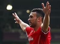 Cardiff City's Steven Caulker celebrates his goal against West Bromwich Albion during thei