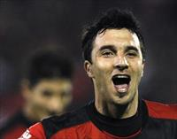 Ignacio Scocco of Argentine Newells's Old Boys celebrates after scoring against Brazil's A