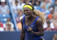 Serena Williams (USA) reacts on day six of the Western and Southern Open tennis tournament