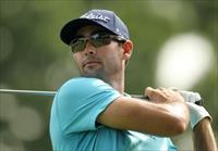 Cameron Tringale tees off on the 13th hole during the first round of The Barclays golf tou