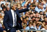 Manchester City manager Manuel Pellegrini reacts during their English Community Shield soc