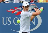 Aug 30, 2014; New York, NY, USA;  Andy Murray (GBR) returns a shot to Andrey Kuznetsov (RU