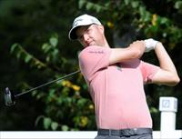 Sep 1, 2014; Norton, MA, USA; Chris Kirk hits tees off on the fourth hole during the final