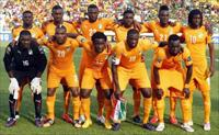 Ivory Coast national soccer team players players pose for a photograph before the start of