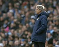 Manchester City manager Manuel Pellegrini reacts during their English Premier League socce