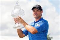 Mar 2, 2015; Palm Beach Gardens, FL, USA; Padraig Harrington celebrates winning the Honda