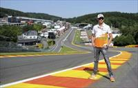 Former Force India Formula One driver Adrian Sutil of Germany poses on the track ahead of