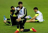 Spanish national soccer team player Alvaro Morata gestures during a tranning session ahead