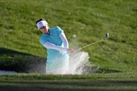 Apr 4, 2015; Rancho Mirage, CA, USA; Morgan Pressel plays out of a greenside bunker on the