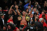 Wladimir Klitschko reacts after defeating Bryant Jennings (not pictured) during their worl