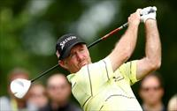 Rod Pampling of Australia plays his tee shot on the eighth hole during the second round of