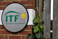 A logo is seen at the entrance to the International Tennis Federation headquarters, where