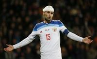 Russia's Roman Shirokov reacts during their Euro 2016 group G qualifying soccer match agai