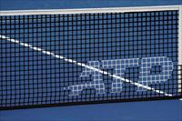FILE PHOTO: Aug 14, 2019; Mason, OH, USA; A view of the ATP logo on an official net on the